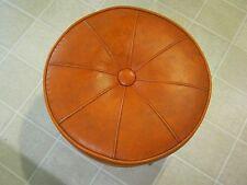 VTG Orange Vinyl Round Ottoman Foot Stool MID CENTURY MODERN Wooden Legs Retro