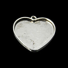 5pcs Alloy Pendant Cabochon Settings Heart Antique Silver Blank Tray Jewelry DIY