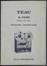 Teac A-7030 Original Magnétophone Mode D 'em Ploi + Schematic et Prospectus