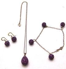 """SET Purple Shamballa 18"""" Necklace 7.5"""" Bracelet & Earrings 925 Sterling Silver"""