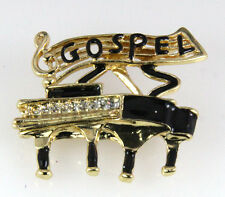 6030036 Gospel Lapel Pin Brooch Music Piano Southern Clef Note