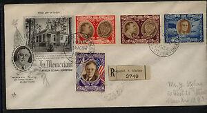 San  Marino  Roosevelt cachet  registered cover ,  high values        MS0126