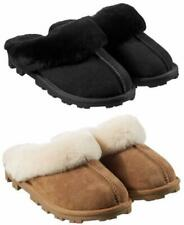 KIRKLAND SIGNATURE Women's Shearling Suede Slippers Mules Chestnut or Black 4-8