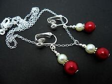 Rosso scuro / avorio vetro perla collana e clip per Orecchino Set. NUOVO.