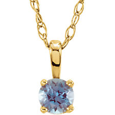 14 Kt Solid Yellow Gold Imitation Birthstone Youth/Child Necklaces