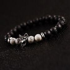 Eye Wolf Head Charm Couple Bracelet Jewelry Men's Women 8mm Onyx Lava Rock Tiger