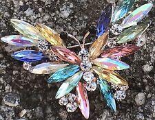 Crystal Rhinestone Butterfly Pin Brooch Rhinestones Clear Tone Vintage Jewelry