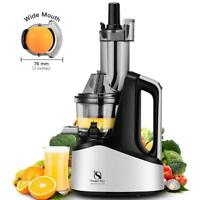 Masticating Slow Juicer Extractor Wide Chute Juice Cold Press Juicer Machine New