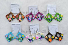 Wholesale 12Pairs Square Flower FIMO Rhinestone polymer clay Silver P earrings