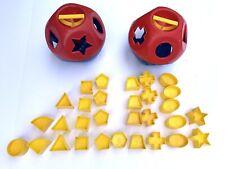 Tupperware Shape O Toy Ball Tuppertoys Shapes Sorter Lot Of 2 Balls & 30 Shapes!