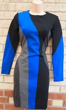 TAYLOR BLUE BLACK GREY SEQUIN LONG SLEEVE BANDAGE BODYCON PARTY TUBE DRESS 10 S