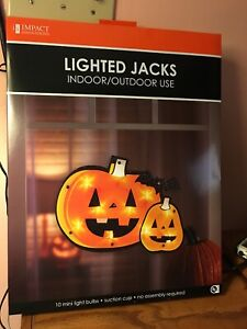 NEW Impact Lighted Halloween Jack Pumpkin & Bat Shimmering  Window Decoration