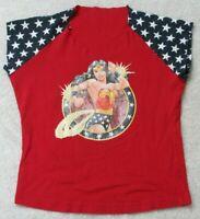 Super Woman Red White Blue V-Neck Graphic Tee T-Shirt Short Sleeve Top Medium