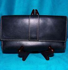 Coach Hamilton Slim Envelope Trifold Clutch Checkbook Wallet Black Leather 41794