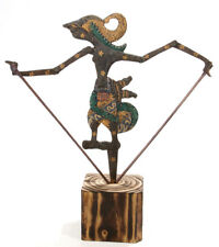 Oriental Asian Wood Shadow puppet with rustic base.