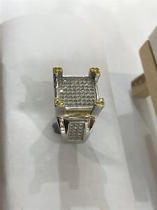925 Sterling Silver Men's PINKY RING Yellow CZ Decorated CZ ALL SIZES