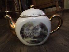 Thomas Kinkade White & Gold Tea Pot Home Is Where The Heart Is Painter Of Light