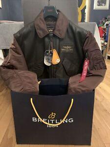 Genuine Rare Mens Breitling Leather Bomber Jacket Size M BNWT