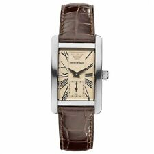Emporio Armani Classic Womens Watch AR0155 Silver Steel Case¦Brown Leather Strap