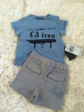 Nwt Juicy Couture Infant Baby Boy Moody Blue Grey Shirt & Shorts Set 3-6M