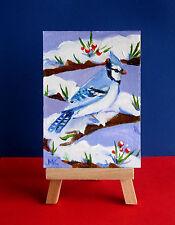 Winter Snow Birds Blue Jay Wildlife ACEO ORIGINAL Oil  Painting Christmas