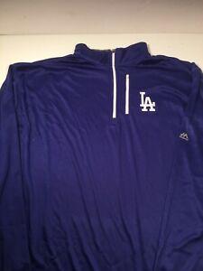 Mens MLB LA Dodgers Majestic Pullover Half Zip Coat Jacket Size Large Blue NWT