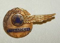Vintage 1940s PAA Pan American Pan Am Airlines 10k Gold Stewardess Uniform Pin