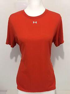 Under Armour Heat Gear Women's Large Shirt Orange Semi Fitted Rare EUC