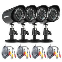 OWSOO 4pcs AHD 720P/1500TVL CCTV Cameras + 4pcs 60ft Video Cable Kit IR-CUT K7W2