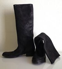 Anthropologie Openwork Laurel Boots Laser Cut Black Nubuck Size 35