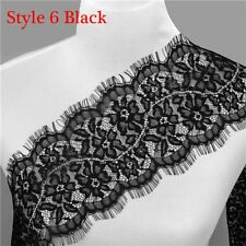 3Yards White/Black Floral Polyester Lace Applique Sewing Trim DIY Craft Trimming