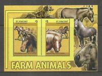 St Vincent & The Grenadines. Farm Animals - Horses -  Souvenir sheet. MNH