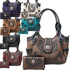 Western Handbag Scroll Rhinestone Concho Buckle Concealed Carry Purse Wallet Set