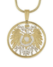 "Germany Phoenix Pendant & Necklace, Germany Cut Coin 3/4"" diameter ( # 766 )"