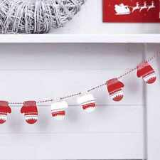 Mini Wooden Christmas Mittens Bunting / Nordic Red & White / Hanging Decoration