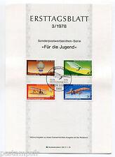 ALLEMAGNE BERLIN 1978, AVIONS, BALLON, 4 timbres, 524/527, DOCUMENT 1° JOUR