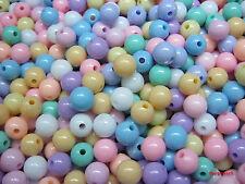 Beads Round Pastel Plastic Toys Diy Pendants Jewelry Making Charms Kids 100pcs