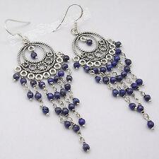 925 Sterling Silver LAPIS LAZULI EXCLUSIVE Earrings 8CM