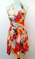 Aryeh Womens White Watercolor Print Halter Dress NWT Size Small