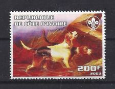 Dog Art Body Portrait Postage Stamp Otterhound Otter Hound Cote D'Ivoire Mnh