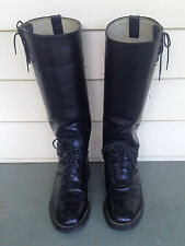 "Vintage Bates Men's Leather Riding Boots, Police Motorcycle Style,16"",Size 8 EEE"