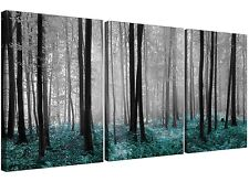 Teal Forest Woodland Trees Canvas Art Set of 3 for your Girls Bedroom