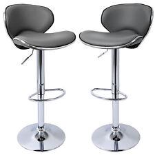 2 X Bar Stools Barstool Kitchen Breakfast Adjustable Faux Leather Chair U024 Grey