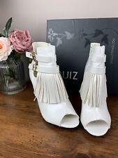 Quiz Size 6 White Fringe Ankle Boots Peep Toe Gold Detail Leather block Heel