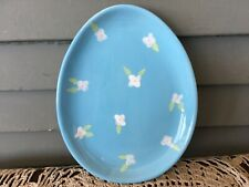 Blossoms & Blooms Easter Egg Shaped Candy Dish Blue with White Flowers Plate