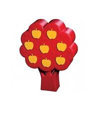 salvadanaio in plastica a forma di albero rosso con mele gialle risparmio soldi