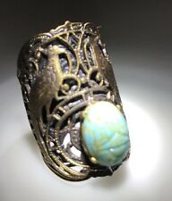 New 1960's Turquoise Scrub Stone Gold Tone DESIGNER Kim Craftsmen Ring