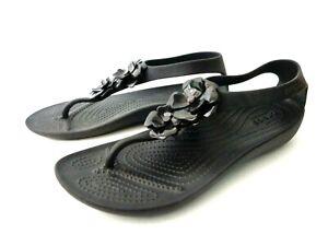 CROCS Serena Flower Embellished WMNs 7M Black Thong Sandal Flip Flops Shoes