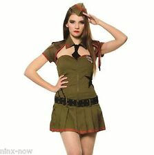 Army Private Pin up Girl Military Uniform Women's Costume 4 piece Set