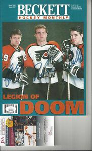 Philadelphia Flyers Renberg, Lindros, LeClair autographed 96 Beckett JSA Cert **